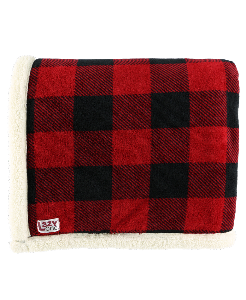 Red Plaid Sherpa Throw Blanket - Lazy One®